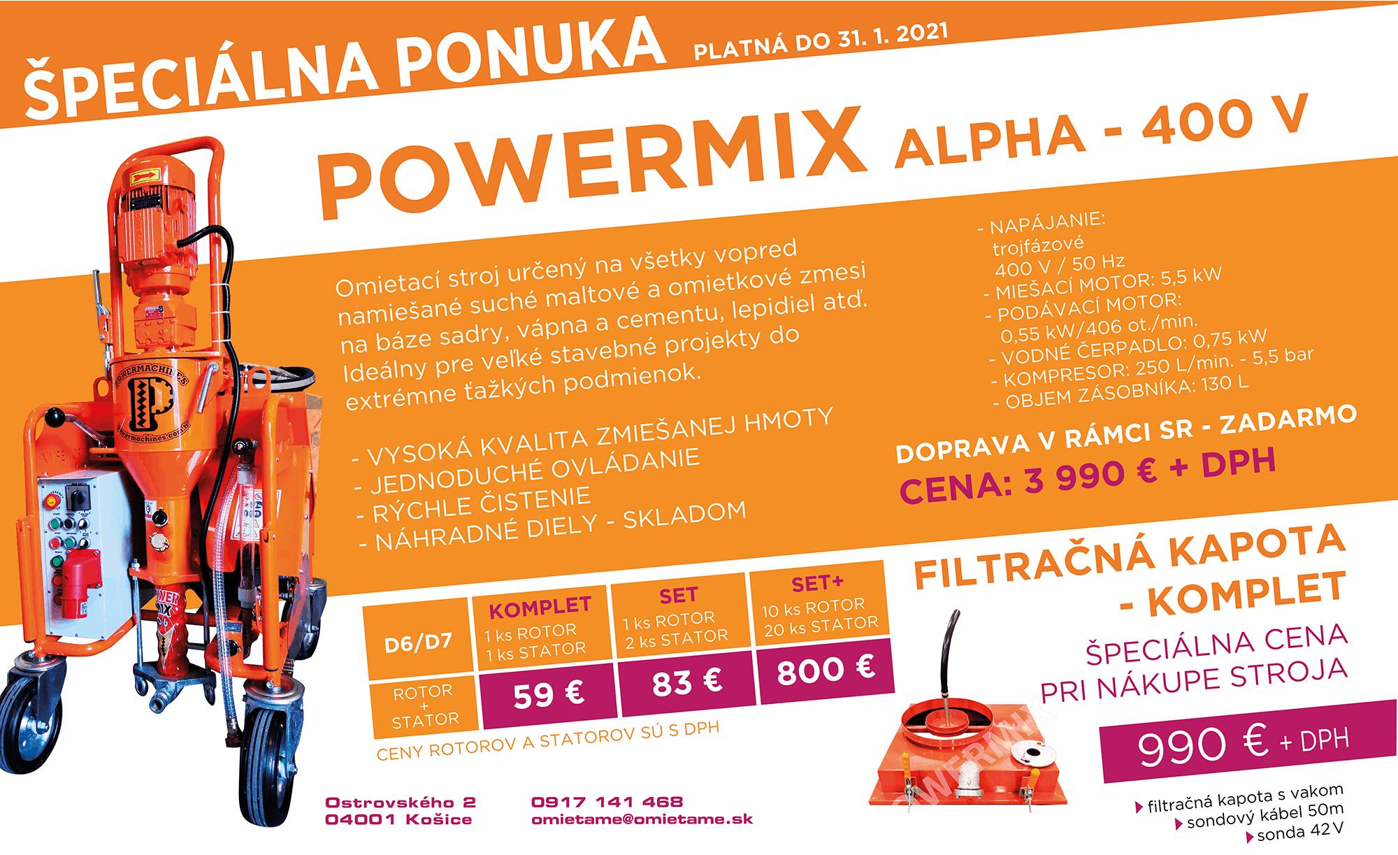 špeciálna ponuka Powermix - Omietací stroj